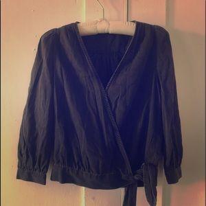 Madewell black denim wrap blouse